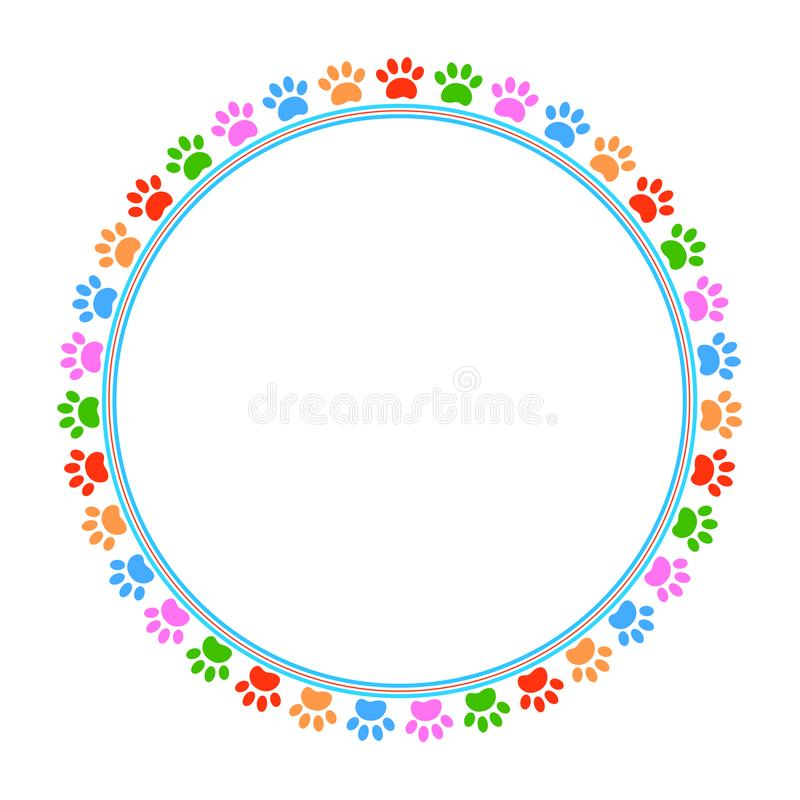 Colorful paws animal round frame vector image vector illustration