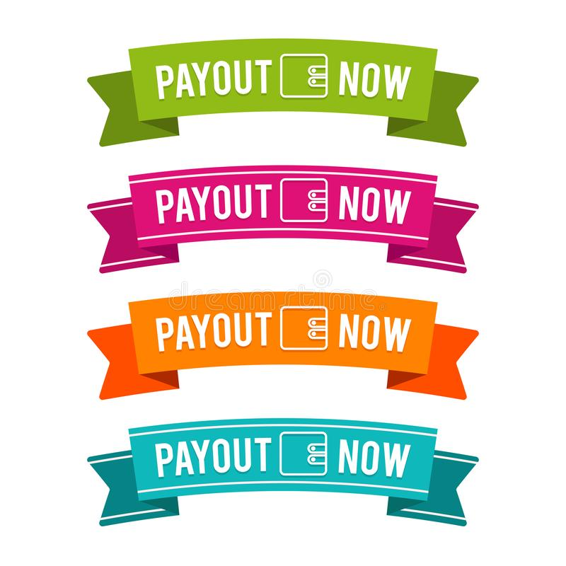Colorful Payout now ribbons. Eps10 Vector. Money payout website banner royalty free illustration