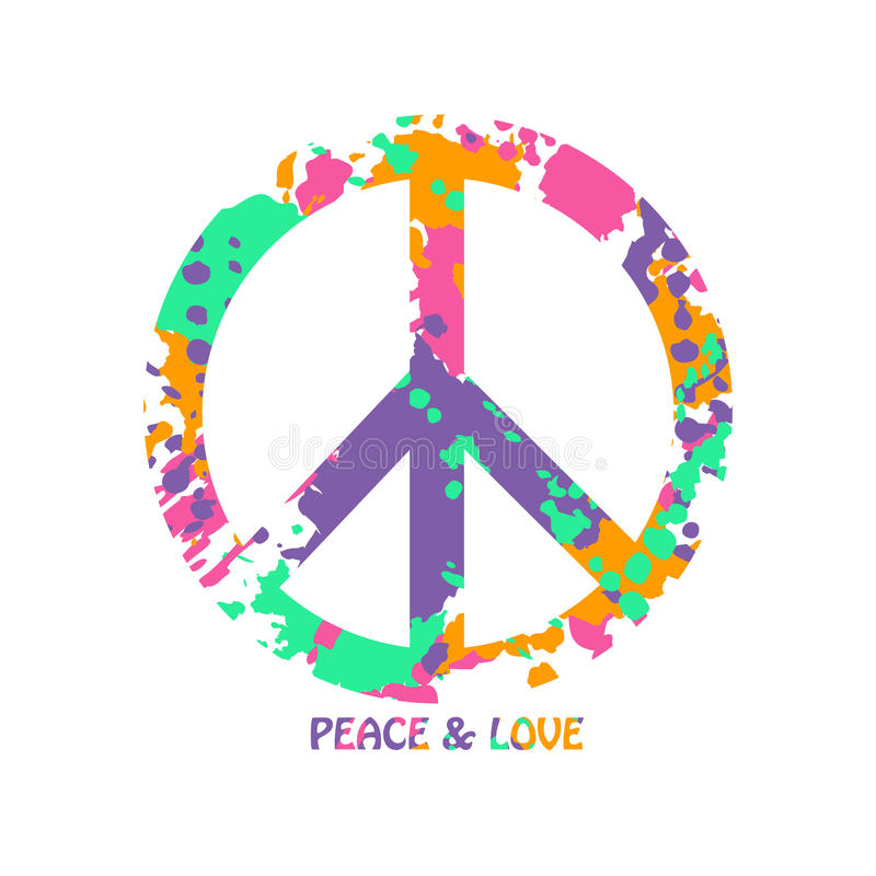 Colorful Peace And Love Hippie Symbol Stock Vector Illustration