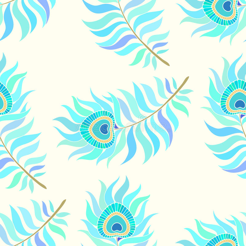 Colorful peacock feathers. Seamless vector pattern. stock illustration