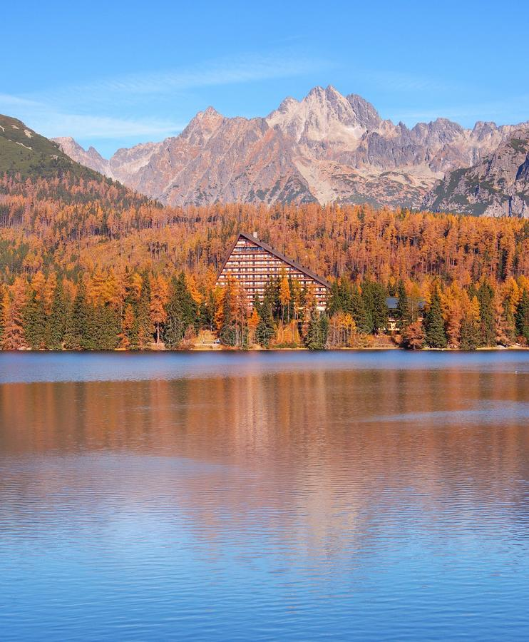 A colorful peaks of High Tatras reflected in Strbske Pleso royalty free stock image