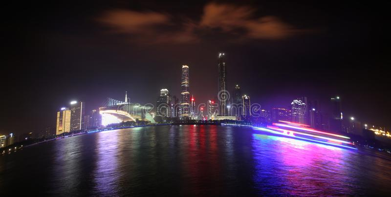 Colorful Pearl River at night royalty free stock images