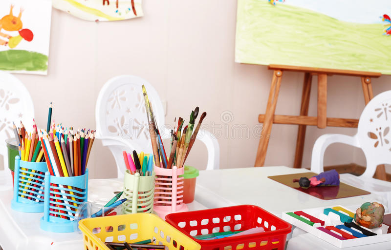 Colorful pencil in art class. Interior royalty free stock photography
