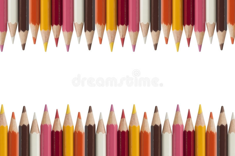 Colorful pencil as white background stock photography