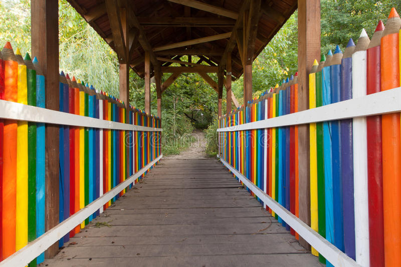 Colorful pencil bridge. Photo of colorful pencil bridge