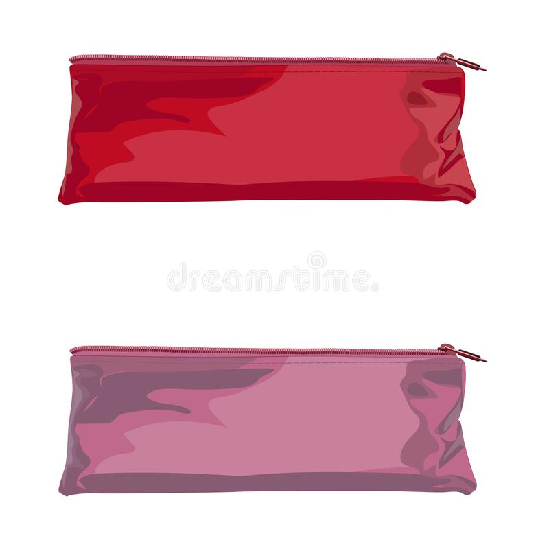 Colorful pencil case on white isolated background royalty free illustration
