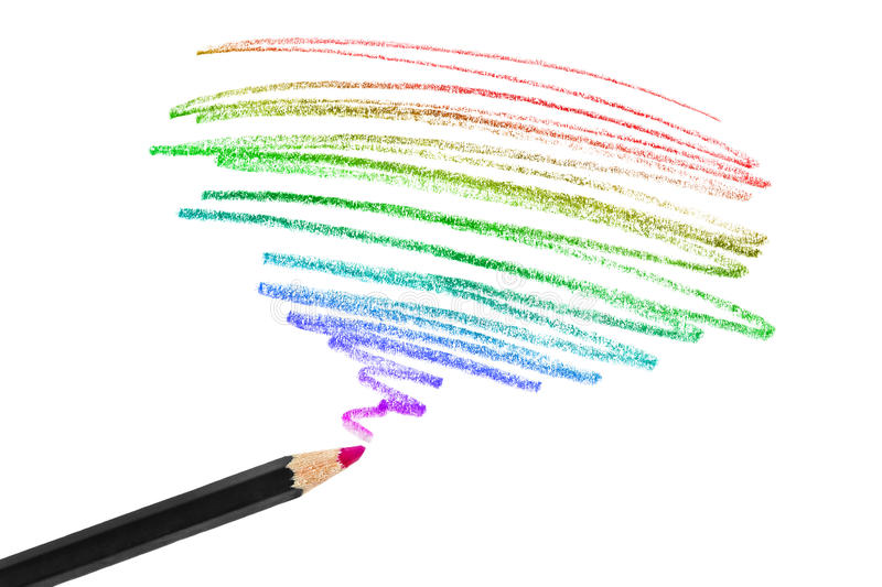 Colorful pencil drawing stock image