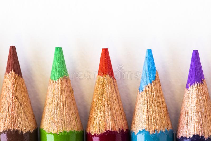 Colorful Pencil Points royalty free stock photo