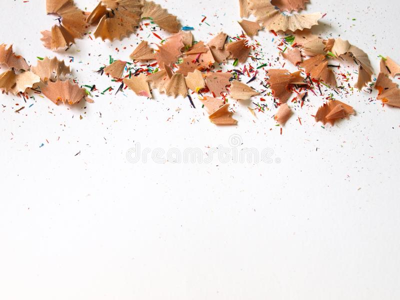 Colorful pencil shavings and pieces. royalty free stock photos
