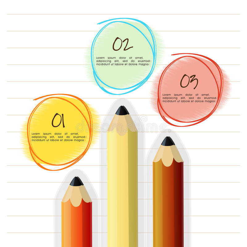 Colorful pencils for business infographics. Colorful pencils on notebook paper background for business or corporate sector royalty free illustration