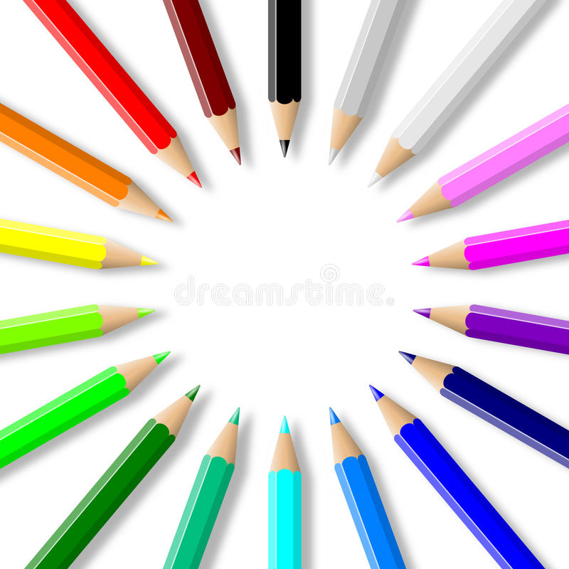 Colorful pencils collection arranged in circle royalty free illustration