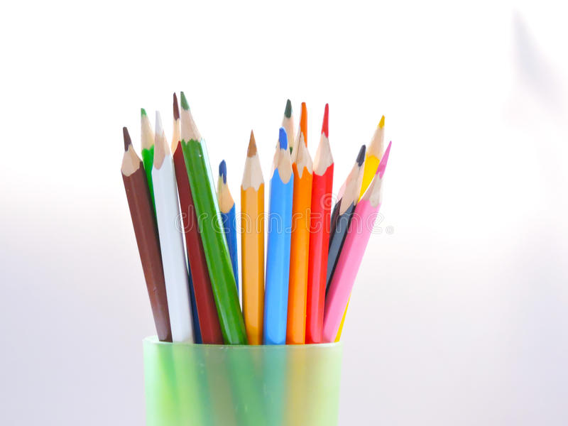Colorful pencils. Colorful color for development of creative abilities of adolescents and children royalty free stock photos