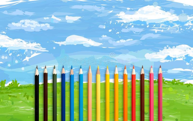 Colorful pencils. Green background surface closeup table preschool stock illustration