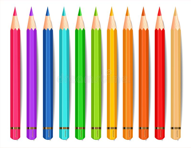Colorful pencils isolated Vector realistic. Creative background illustrations. Colorful pencils isolated Vector realistic. Creative background illustration royalty free illustration