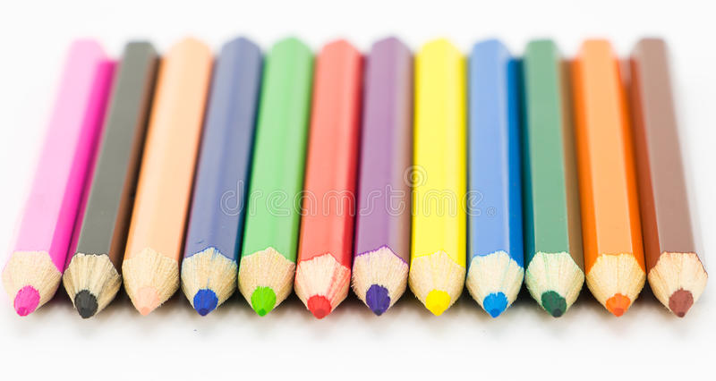 Colorful pencils in pail royalty free stock photography