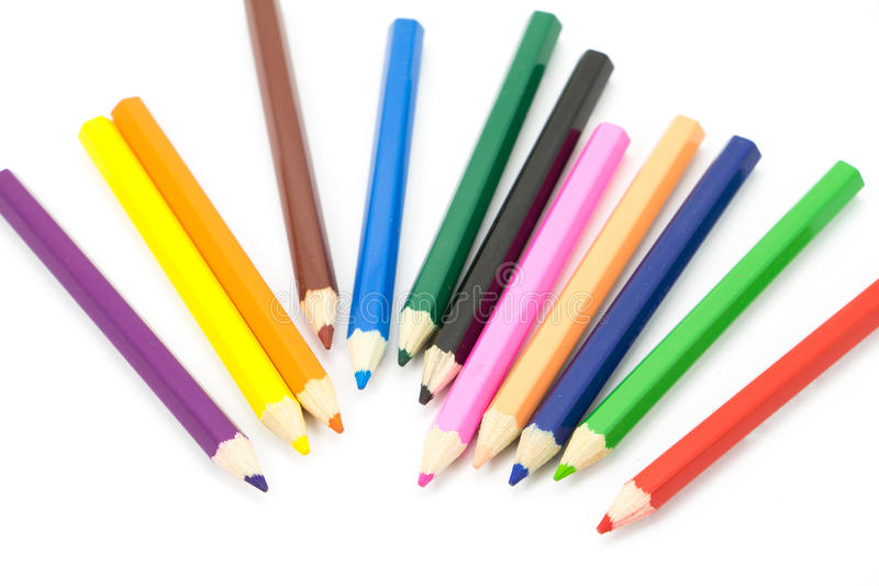 Colorful pencils in pail stock photo