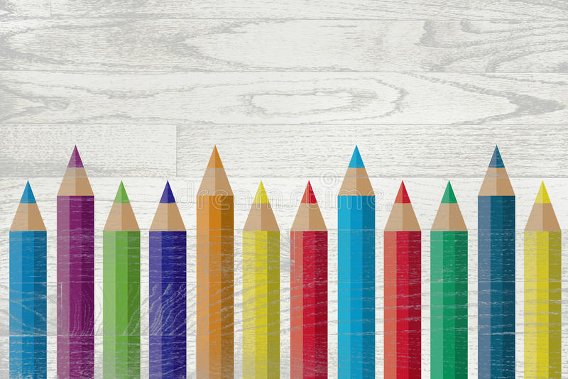 Colorful Pencils Painted Over Whitewashed Boards. A set of colorful colored pencils painted over a whitewashed wooden board background royalty free illustration