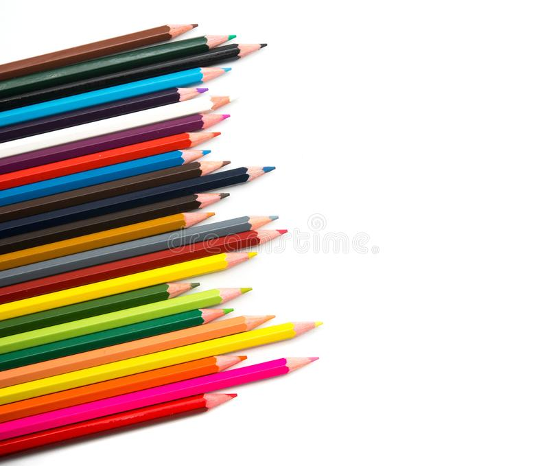 Colorful pencils on white background stock photo