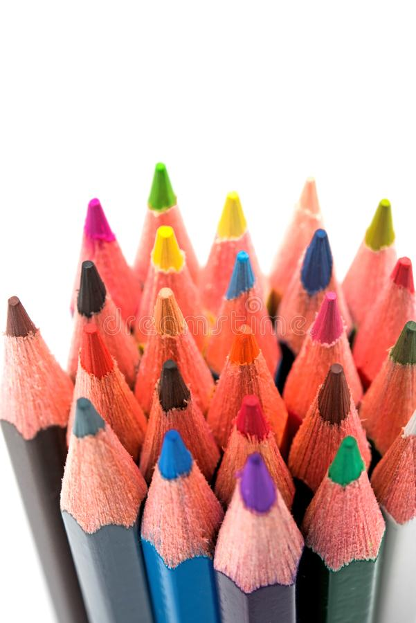 Colorful pencils on white background stock photography