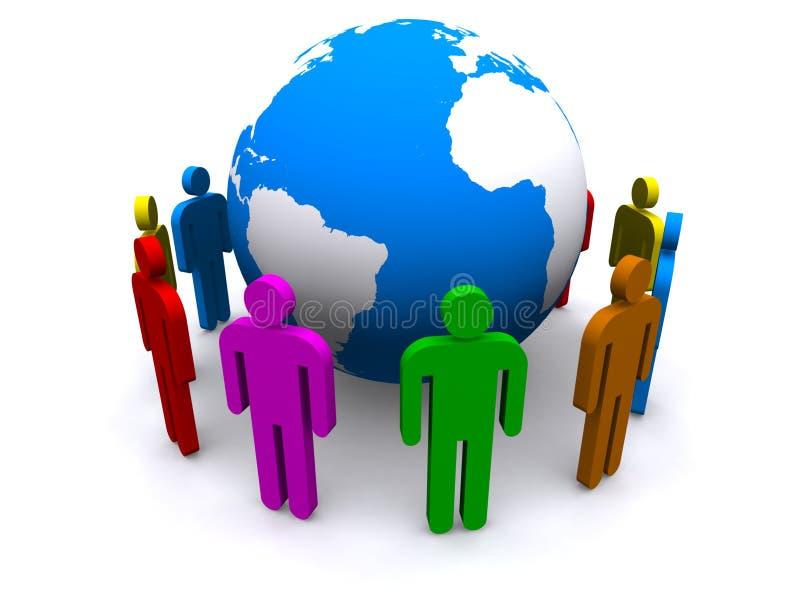 Colorful people around globe vector illustration
