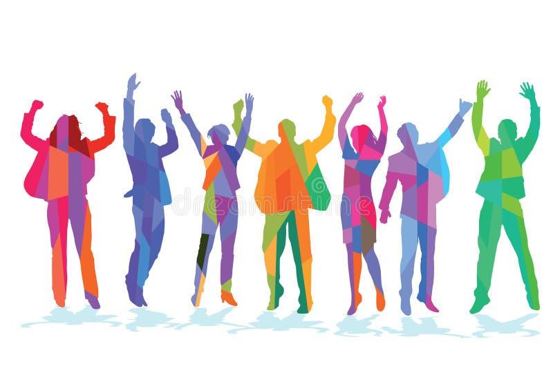 Colorful people celebrating stock illustration
