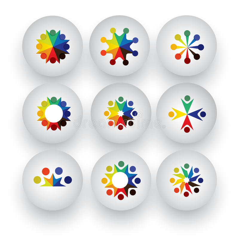 colorful people, children, employees icons collection set - vector graphic stock illustration