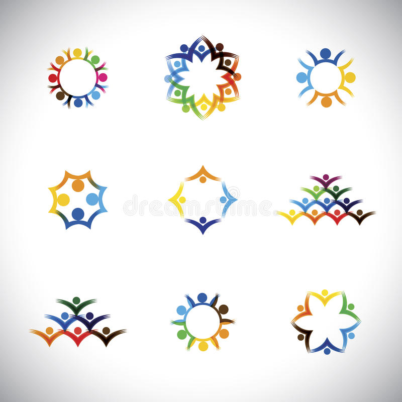 colorful people, children, employees icons collection set - vector graphic. stock illustration