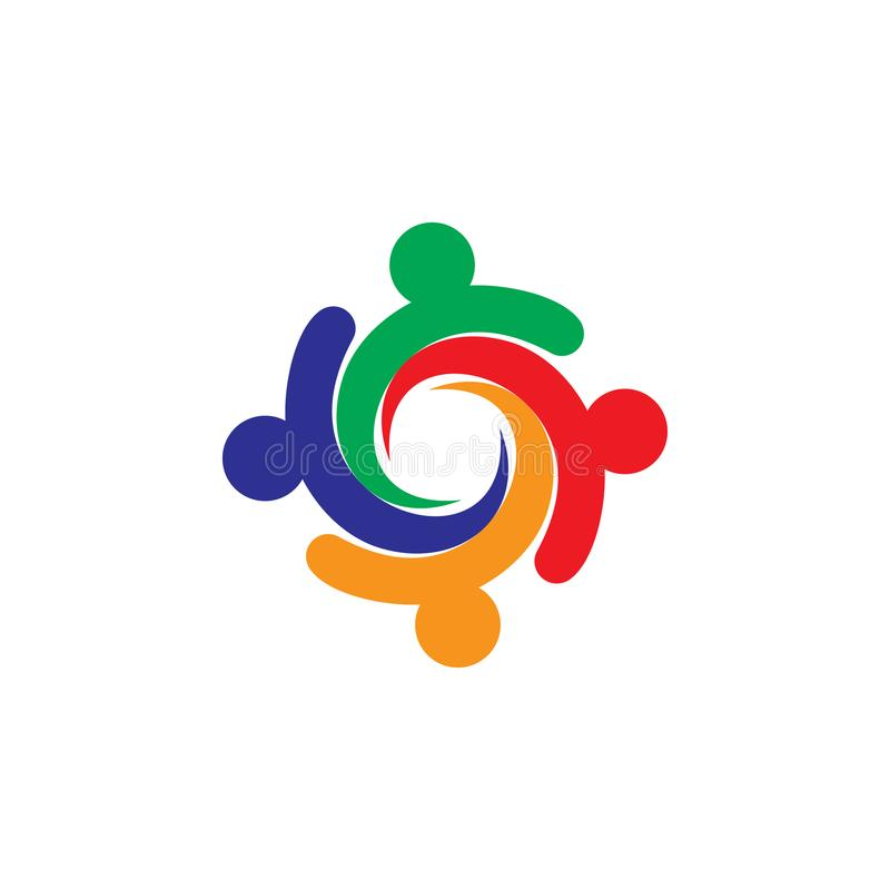 Colorful people in circle logo vector stock photos