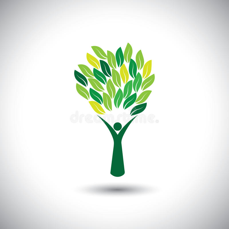 Colorful people tree - eco lifestyle concept vector. This graphic also represents harmony, nature conservation, sustainable development, natural balance vector illustration