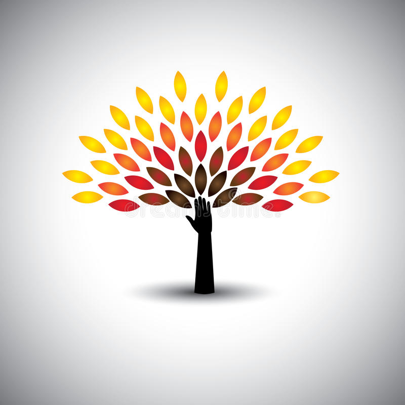 Colorful people tree and hand - eco lifestyle concept vector. This graphic also represents harmony, nature conservation, sustainable development, natural vector illustration