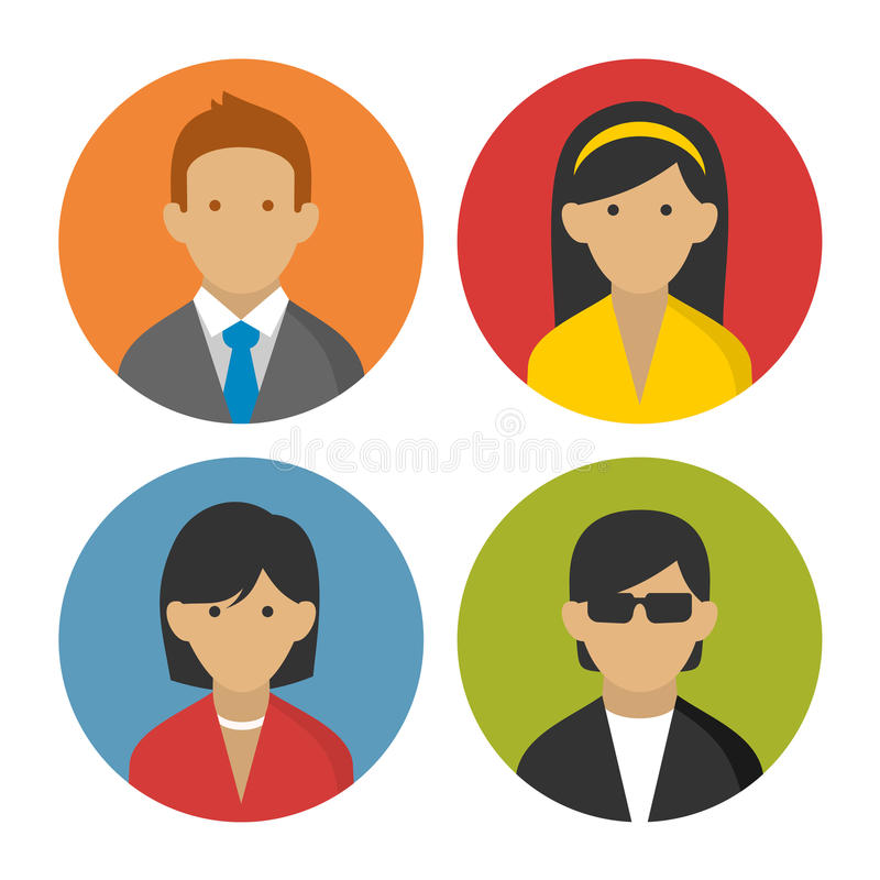 Colorful Peoples Userpics Icons Set in Flat Style. royalty free illustration