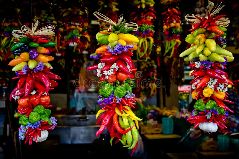 Download Colorful Peppers And Garlics Hanging At Market Stock Photo - Image: 13047356