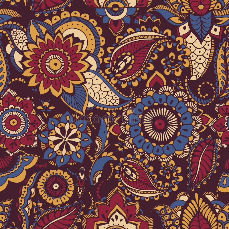 Colorful Persian paisley seamless pattern with buta motif and oriental floral mehndi elements on dark background. Motley stock illustration