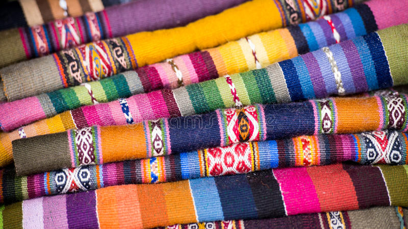Colorful Peruvian Alpaca Wool Textiles. Peruvian multi-colored alpaca wool textiles from the Andes royalty free stock photo