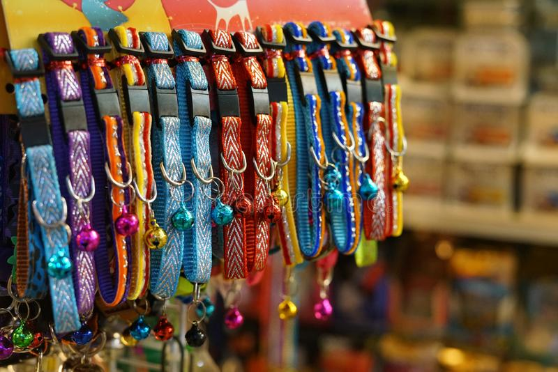 Colorful pet collars for dog or cat sale in pet store.  royalty free stock photo