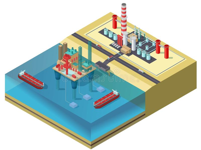 Colorful Petroleum Industry Isometric Concept. With water oil platform tanker ships trucks and storage area vector illustration royalty free illustration