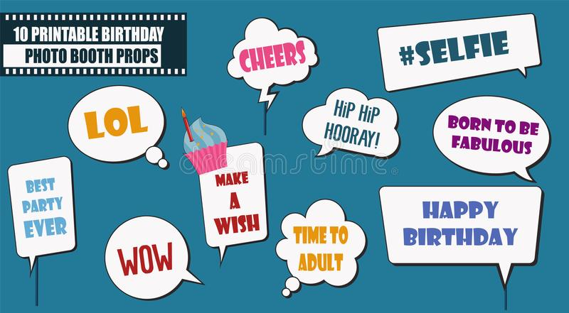 photograph regarding Printable Photo Booth Props Birthday titled Picture Booth Props Preset For Birthday Celebration Vector Case in point