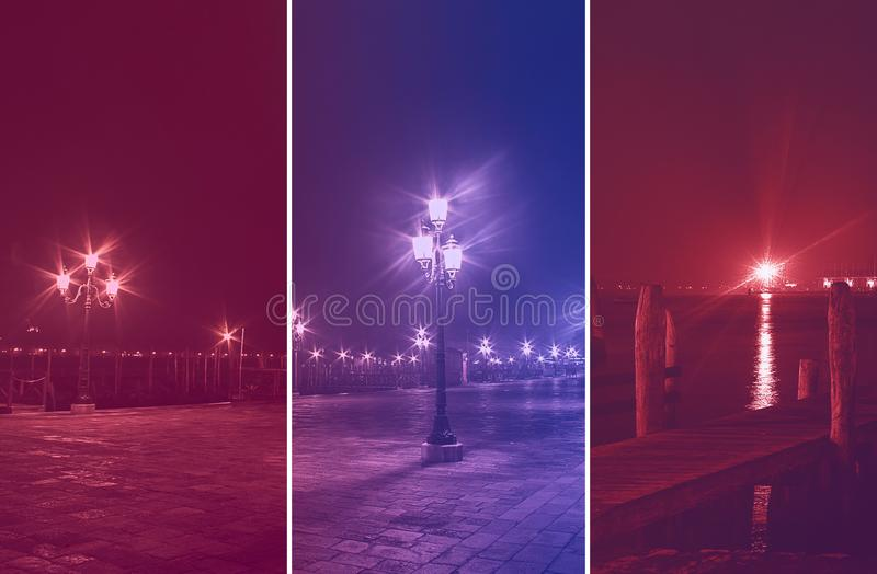 Colorful photo collage of venice by night royalty free stock photos