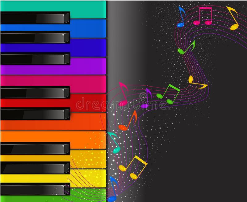 Colorful piano keyboard with musical notes stock illustration