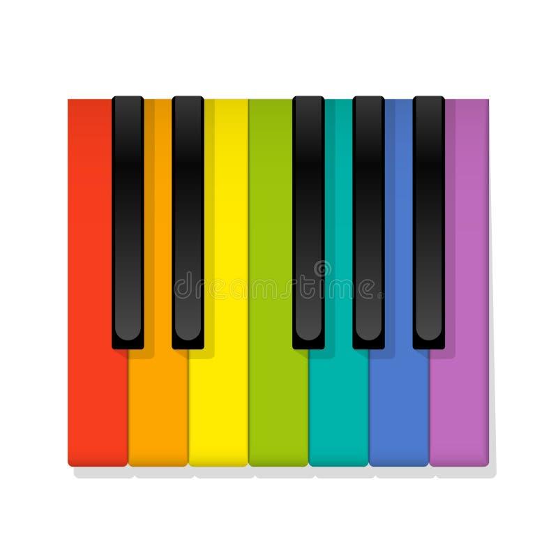 Colored Piano Keys Rainbow Octave stock illustration