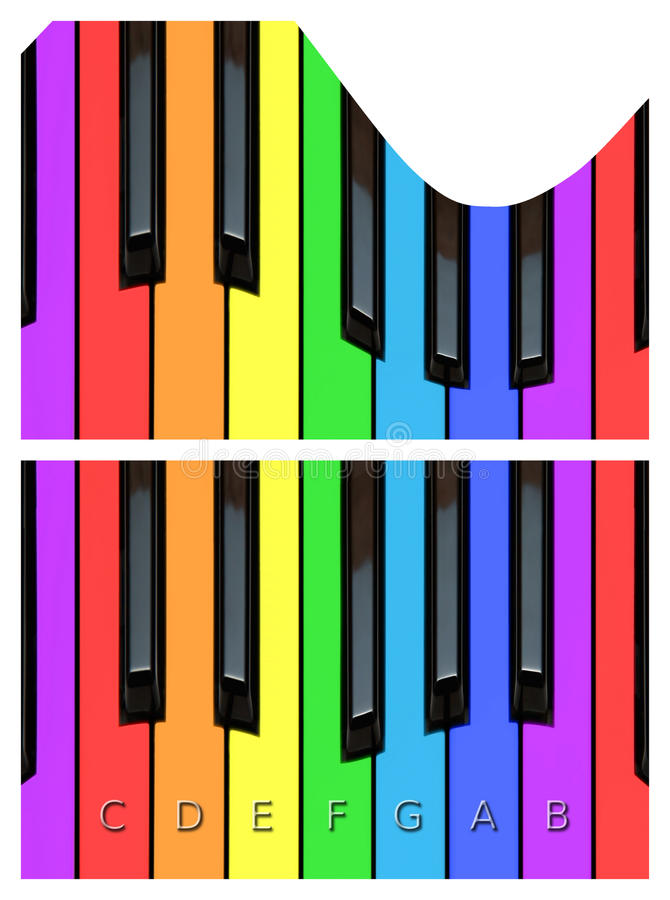 Colorful piano keys, keyboard in rainbow colors stock photo