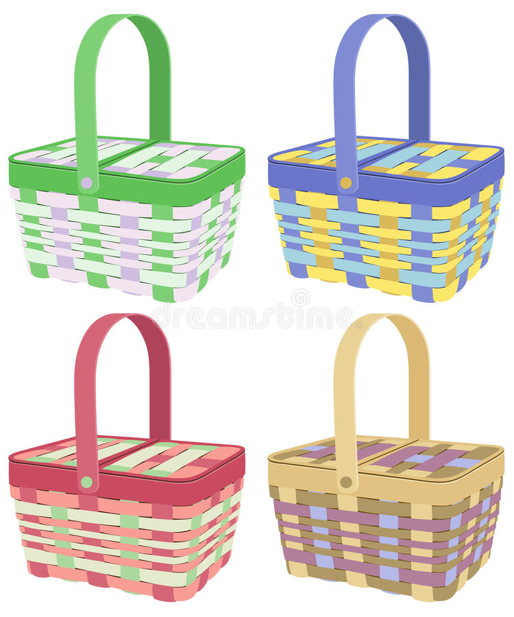 Colored Picnic Baskets Royalty Free Stock Images