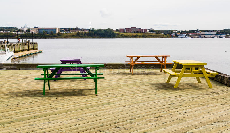 Colorful Picnic Benches On Wood Dock Stock Photo Image Of Lumber - Treated lumber picnic table