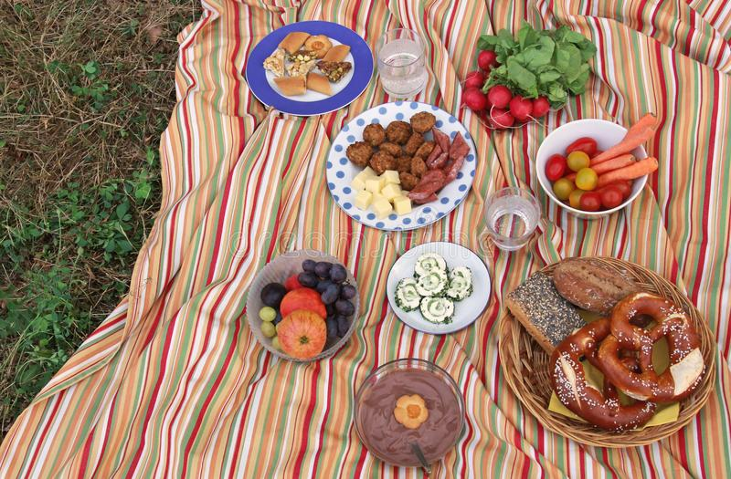 Colorful picnic on a meadow royalty free stock images