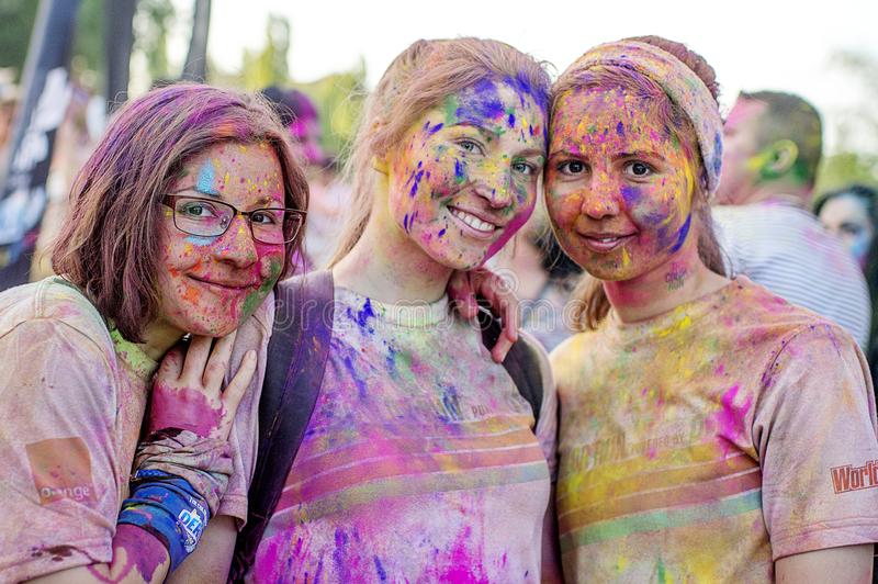 Girls at The Color Run Bucharest. Happiest 5k on the planet!. Colorful picture from Romania at The Color Run Bucharest the most colorful race where more than 5 royalty free stock photos