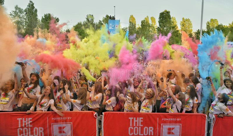 The Color Run Hero Tour Bucharest royalty free stock image