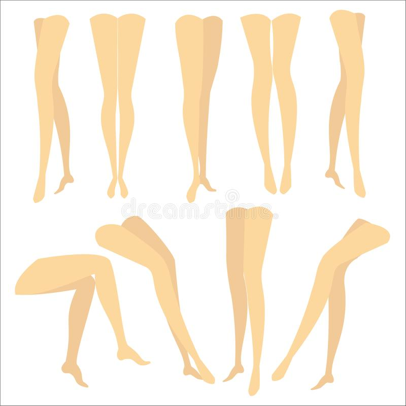 A colorful picture with silhouettes of slender beautiful female feet. Different forms of legs when the girl is standing, sitting, stock illustration