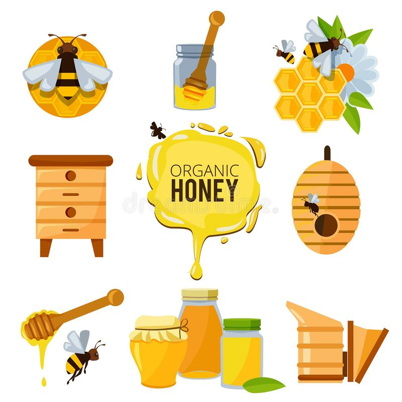 Colorful pictures of honey bumble and different others symbols of apiculture stock illustration