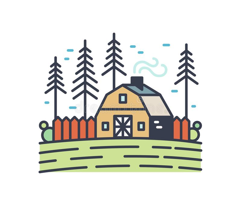 Colorful picturesque countryside landscape. Linear cottage with smoking chimney in the field surrounded by pine trees stock illustration