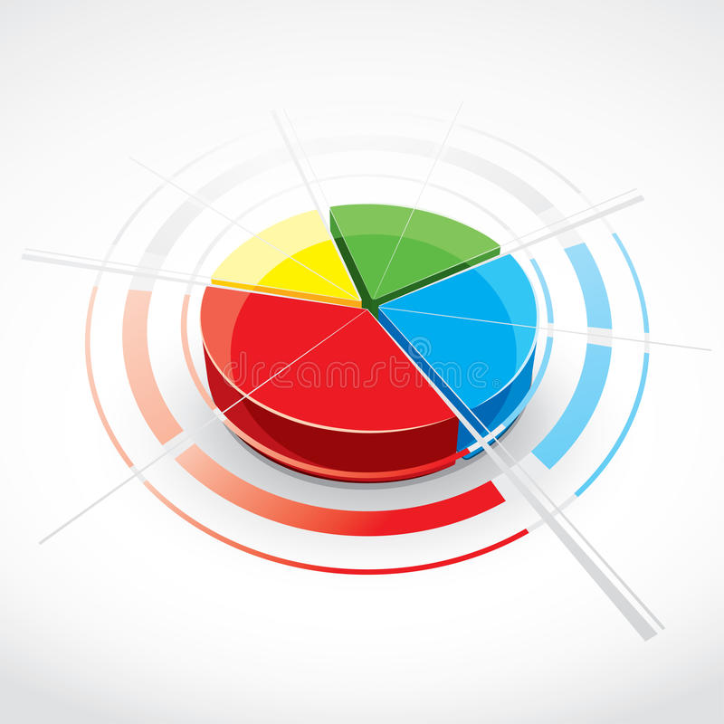 Colorful pie chart. Or graphic with red, green, blue and yellow sections vector illustration